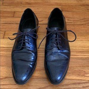 Rachel Comey Rhea Leather Crackled Blue Oxfords